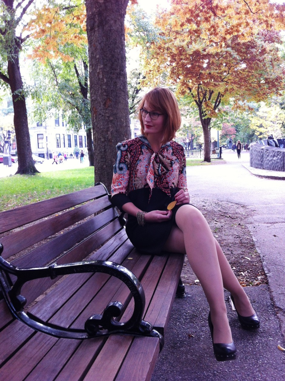 sitting on bench